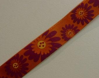 Orange & Magenta Flower Ribbon 1 Yard