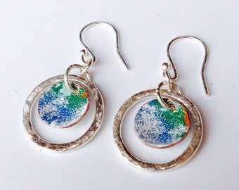 Blue and green earrings, silver earrings