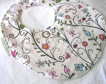 Regans Blooms - Boutique Bib - pink terry cloth backing