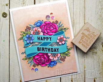 Happy Birthday Beautiful Floral Fancy Greeting Card Handmade in Pink Aqua Blue Peach Green for Wife Girlfriend Sister Mom Daughter Aunt