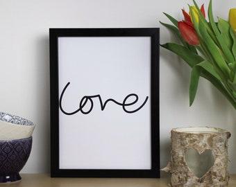 Love - Typography Print A4