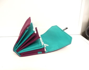 Cash Envelope Wallet  / Dave Ramsey System / ZIPPERED Envelopes - Turquoise and Plum