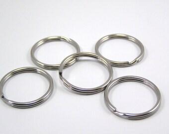 Keyrings 25 x 1.5 mm color Platinum set of 5
