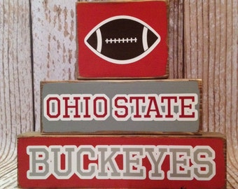 Ohio State Buckeyes Football  Wood Block Decor