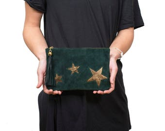 Green Suede clutch, leather pouch stars, suede zipper pouch, suede leather clutch, green leather wallet