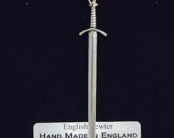 Medieval Battle Sword Necklace in Fine English Pewter, Hand Made, Gift Boxed .