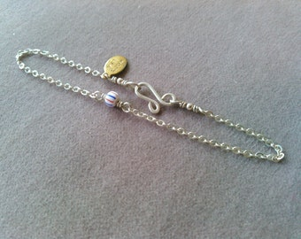 sterling silver wish bracelet with vintage trade bead