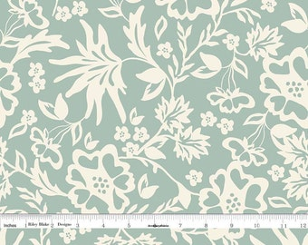 Cream and Dusky Mint Floral Fabric, Mint Floral Quilt Fabric, Riley Blake Apricot & Persimmon C4901 Floral Mint, Carina Gardner, Cotton