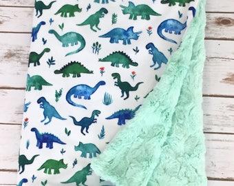 Minky Baby Blanket - Dinosaur Blanket - Stroller Blanket - Dinosaur Theme - Baby Blanket -  Baby Boy Blanket - Dinosaur
