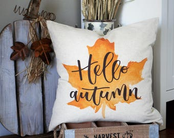 Fall Pillow Cover, Hello Autumn, Fall Decor, Fall pillow