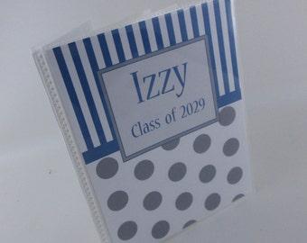 Personalized Photo Album Baby Photo Album Boy Shower Gift navy gray polka dot 4x6 or 5x7 album 243