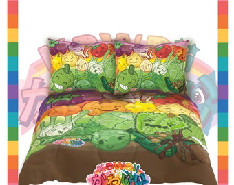 Kawaii Universe - Cute Fruits and Veggies Designer Bed Spread