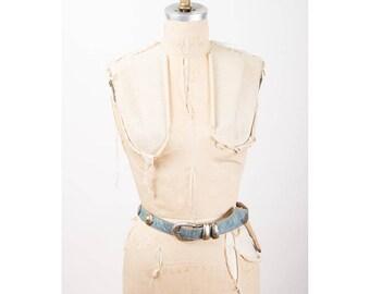 Vintage leather belt / 1980s Leatherock Nina Arjani faux denim look western style belt S M L