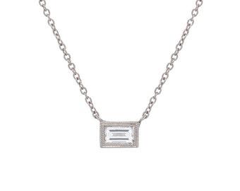 Baguette Diamond Necklace, Diamond Solitaire Necklace, Double Milgrain Bezel Diamond Necklace, Deco Style Diamond Necklace, Nixin