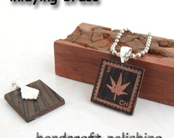 SALE 1 pcs inlaying  copper  maple leaf Pterocarpus indicus silver bail pendant