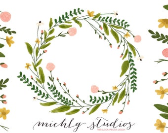 Floral wreath clipart, flower clipart, wreaths clipart, hand drawn, whimsical, leaves, diy, logo, flowers, wedding clip art