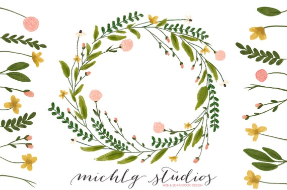 floral wreath clipart flower clipart wreaths clipart hand rh etsy com wreath clip art images wreath clip art frames
