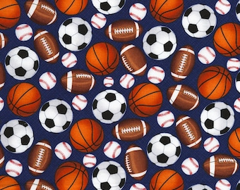 Mixed Sports Balls~Cotton Fabric Clothing,Quilt,Timeless Treasures,GAIL-C5219Blue, Fast Shipping,S177