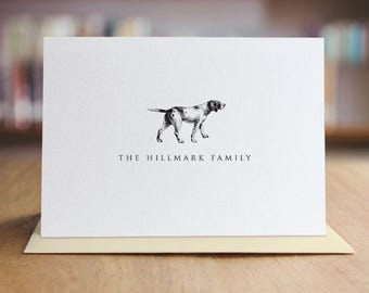 Personalized Stationery Note Card Set /  Personalized Dog Note Cards / Dog Stationary / Set of 10 Folded Shimmer Note Cards - NC8015