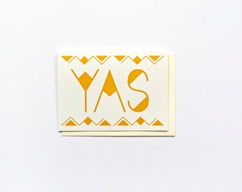 New Look! YAS Card, Everyday Greeting Card, Congrats Card, Gold Shimmer Card, Just Because Card, Blank Inside Card