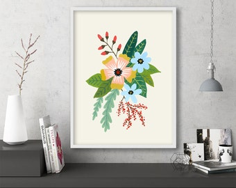 "floral art prints, flower wall art, folk art, instant download printable art, large art, large wall art, prints -""Folk Art Flowers No. 4"""