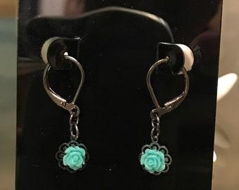 Light Blue Rose Earring