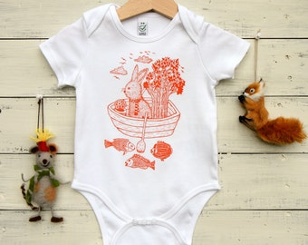 Baby Onesie, Organic Cotton Bodysuit, Hand Printed Baby Romper, Rabbit in Boat Design, Orange Print on White