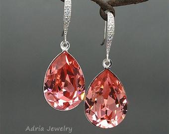 Pink Swarovski Crystals Earrings for Brides Teardrop Rhinestone Wedding Earrings Peach Rose Crystal Drop Bridesmaids Earrings Bridal Jewelry