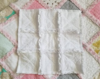 Baby Lovey, Security Blanket, Textured Lovey, Lovies, Snuggle Blanket, Baby Blanket, Tag Lovey, White Quilt, Rag Quilt, Baby Lovie