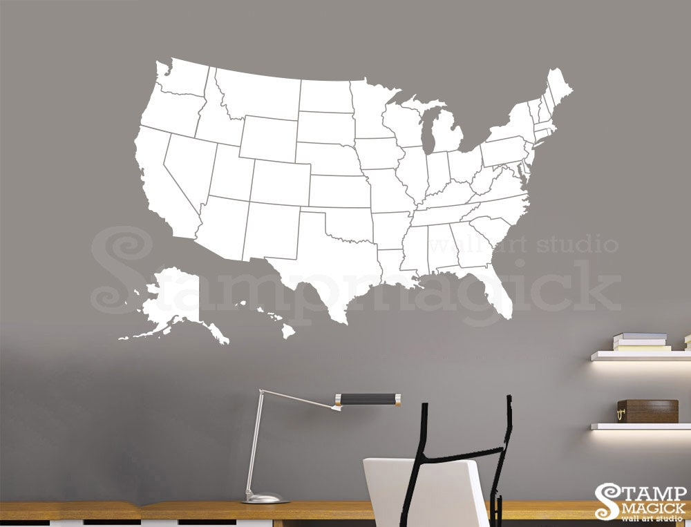 United states of america map wall decal usa wall map vinyl zoom gumiabroncs Gallery