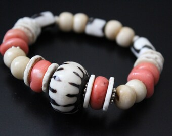 Batik bone and coral African tribal bracelet - funky primitive bracelet - rustic tribal stretch bracelet - boho hippie stacking bracelet