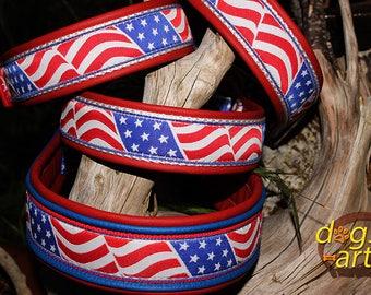 "Dog Collar ""USA Flag"" by dogs-art, flag dog collar, usa dog collar, dog collar, american flag collar, memorial day, leather dog collar"