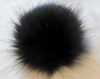 Size XL ( high quality ) black faux fur pom pom 6.5 inches /16 cm