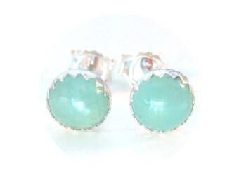 Aquamarine Stud Earrings 6mm in Sterling Silver Post Style Gemstone Studs