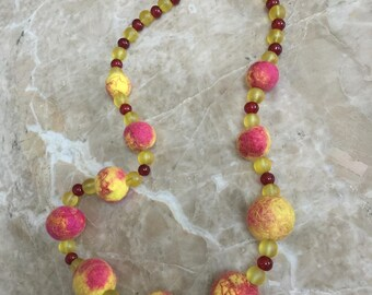 Felted and Vintage Bead Necklace, Hot Pink Sunrise