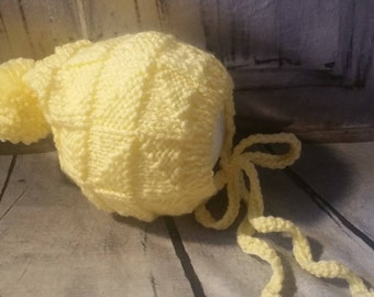 Yellow baby bonnet with pompom baby boy baby girl shower gifts baby hats