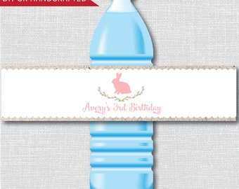 Rustic Bunny Birthday Party Water Bottle Labels - Bunny Party - Weatherproof Labels - Digital or Handcrafted - FREE SHIPPING