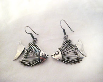 Amazing Sterling mid-century fish earrings-Sale