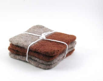 Wool felted coasters - square coaster set - chestnut and oatmeal
