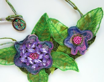 Textile Bib Necklace - Wearable Art - Vintage Brooch - Lavender and Green