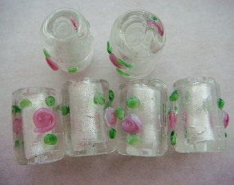 6 Clear silver foil tube lampwork glass beads 16mm