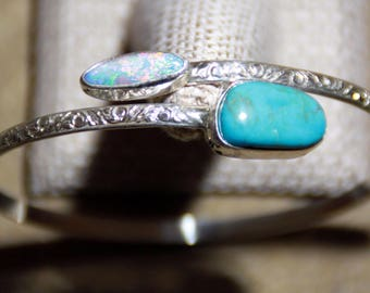 Turquoise and Opal Bypass Bracelet