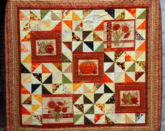 Fall Pumpkin Couch or Lap Quilt