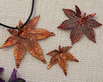 SALE Leaf Necklace, Copper Maple Leaf, Real Leaf Necklace, Copper Leaf, Real Leaf Pendant, Japanese Maple, Holiday Gifts SALE282