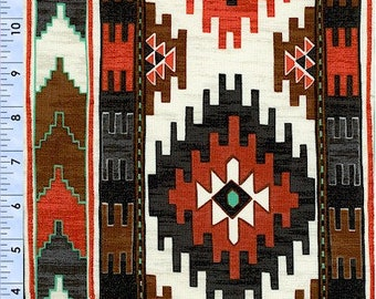 Native American Border Fabric In Black, Brown, Orange and Tourquois Fabric by the Yard 36554 2