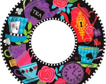 Mad Hatter Tea Party Plates/ Alice in Wonderland Party Plates/ Dark Tea Party Plates/ Tea Party Plates/ Tea Party