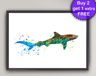 SHARK Watercolor Art Prints shark Sea Life Ink Painting Underwater illustrations Art Print Wall Poster Giclée Decor Art Home (Nº2)