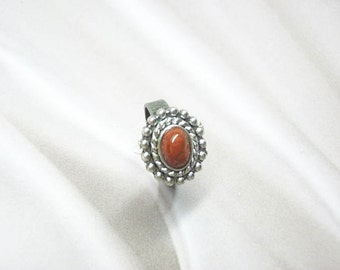 Ring, burnt orange, handcrafted, adjustable,