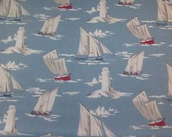 Skipper Marine Boats sailing vintage colours beach theme seaside 100% Cotton Upholstery Curtain Fabric UK Design