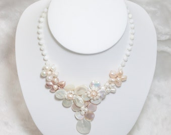 Flower Shell and Pearl Necklace Pink&white, wedding bridal necklace